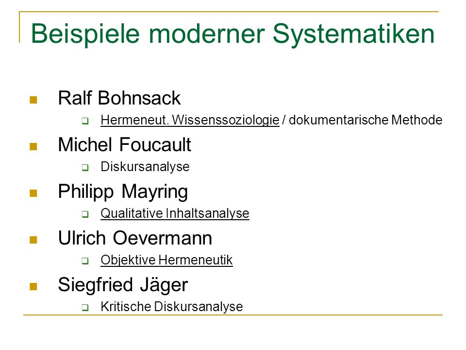 Beispiele moderner Systematiken