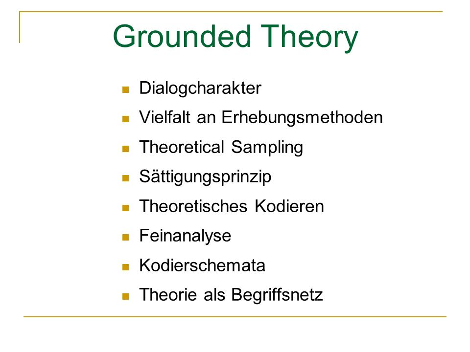 Grounded Theory Dialogcharakter Vielfalt an Erhebungsmethoden