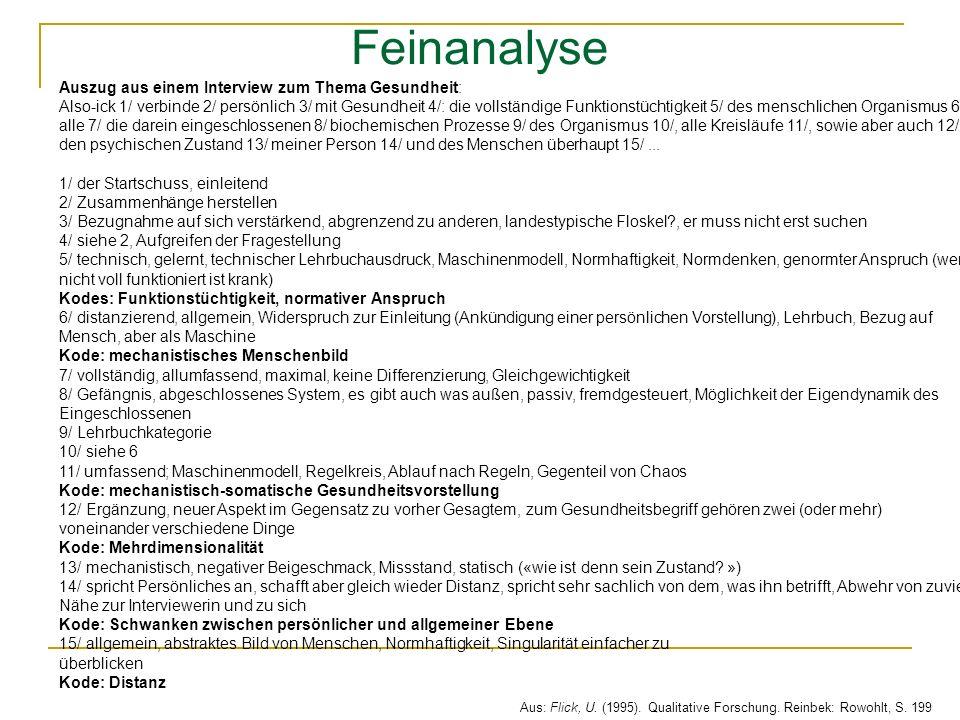 Feinanalyse Auszug aus einem Interview zum Thema Gesundheit:
