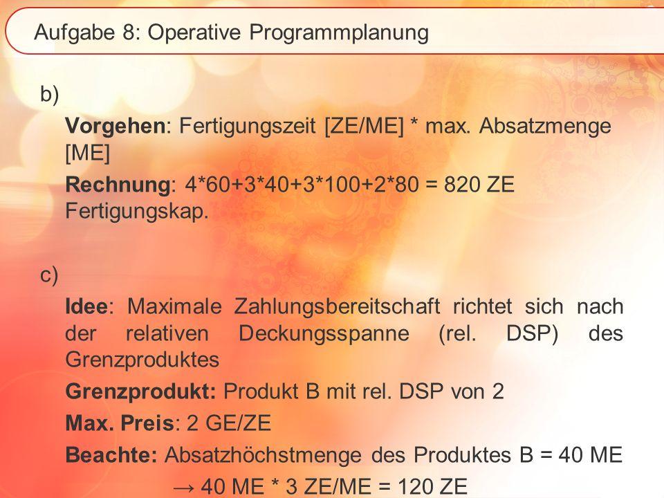 Aufgabe 8: Operative Programmplanung