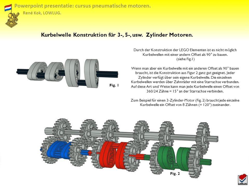 Kurbelwelle Konstruktion für 3-, 5-, usw. Zylinder Motoren.