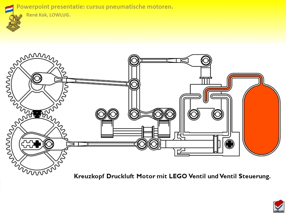 Kreuzkopf Druckluft Motor mit LEGO Ventil und Ventil Steuerung.