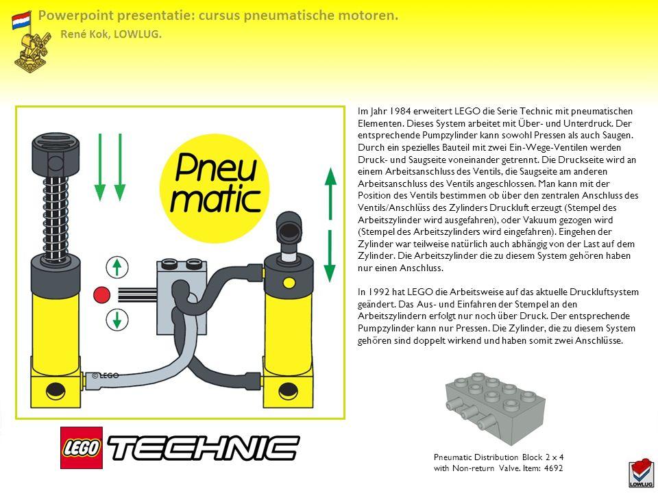 Im Jahr 1984 erweitert LEGO die Serie Technic mit pneumatischen Elementen. Dieses System arbeitet mit Über- und Unterdruck. Der entsprechende Pumpzylinder kann sowohl Pressen als auch Saugen. Durch ein spezielles Bauteil mit zwei Ein-Wege-Ventilen werden Druck- und Saugseite voneinander getrennt. Die Druckseite wird an einem Arbeitsanschluss des Ventils, die Saugseite am anderen Arbeitsanschluss des Ventils angeschlossen. Man kann mit der Position des Ventils bestimmen ob über den zentralen Anschluss des Ventils/Anschlüss des Zylinders Druckluft erzeugt (Stempel des Arbeitszylinder wird ausgefahren), oder Vakuum gezogen wird (Stempel des Arbeitszylinders wird eingefahren). Eingehen der Zylinder war teilweise natürlich auch abhängig von der Last auf dem Zylinder. Die Arbeitszylinder die zu diesem System gehören haben nur einen Anschluss.