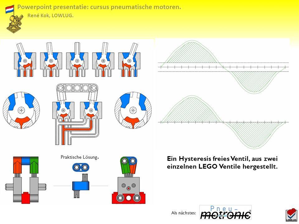 Praktische Lösung. Ein Hysteresis freies Ventil, aus zwei einzelnen LEGO Ventile hergestellt.