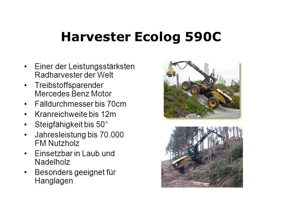 Harvester Ecolog 590CEiner der Leistungsstärksten Radharvester der Welt. Treibstoffsparender Mercedes Benz Motor.