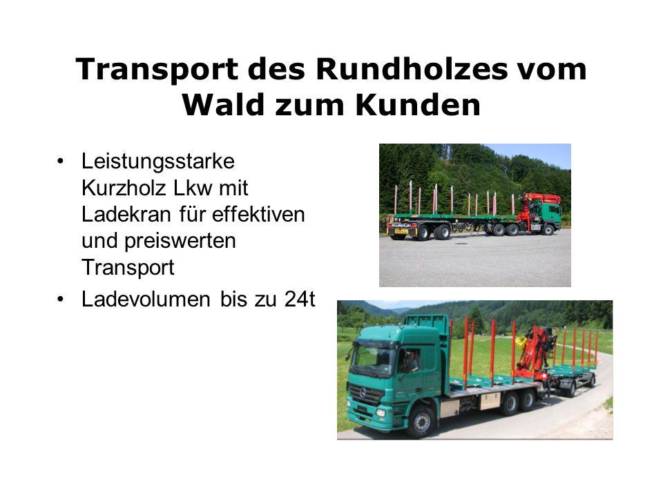 Transport des Rundholzes vom Wald zum Kunden