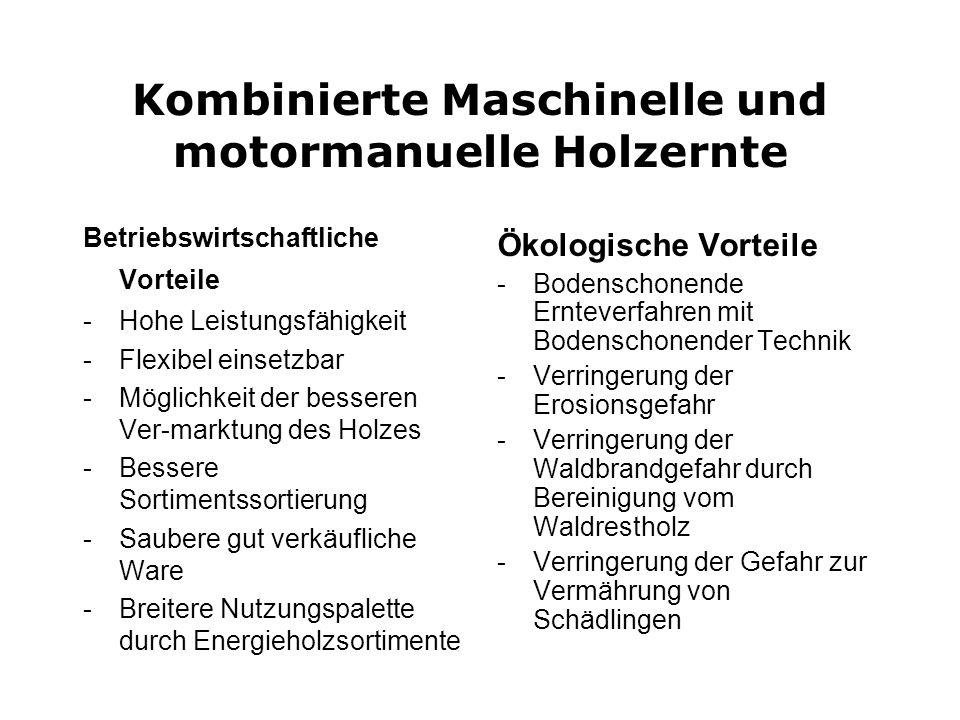 Kombinierte Maschinelle und motormanuelle Holzernte