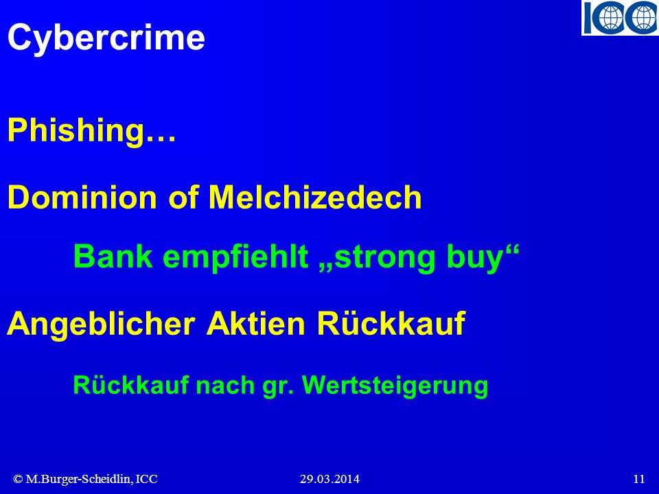 "Cybercrime Phishing… Dominion of Melchizedech Bank empfiehlt ""strong buy Angeblicher Aktien Rückkauf Rückkauf nach gr."