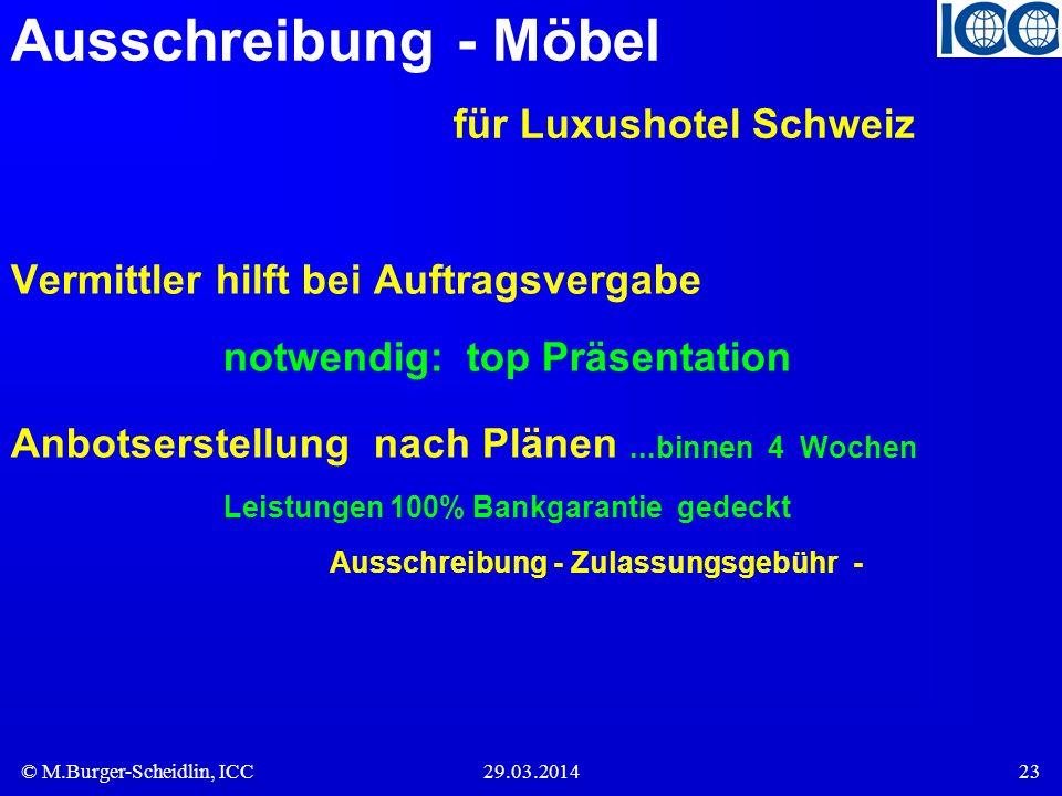 Ausschreibung - Möbel für Luxushotel Schweiz