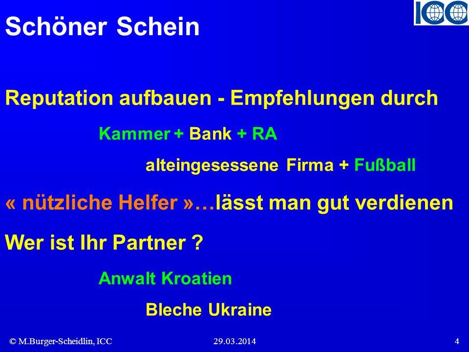 Schöner Schein Reputation aufbauen - Empfehlungen durch Kammer + Bank + RA alteingesessene Firma + Fußball.