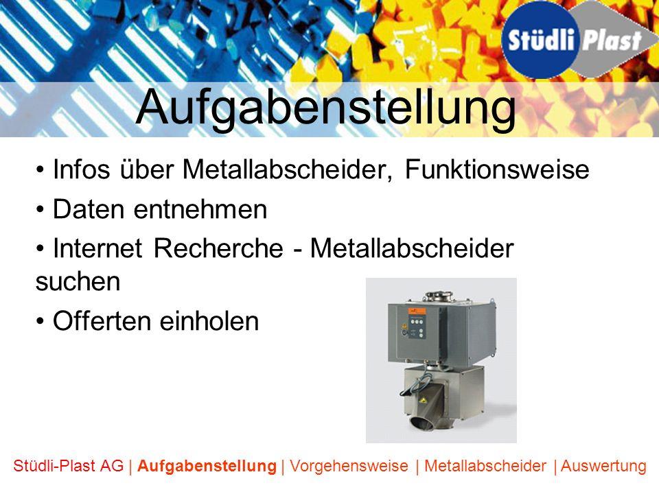 Aufgabenstellung Infos über Metallabscheider, Funktionsweise
