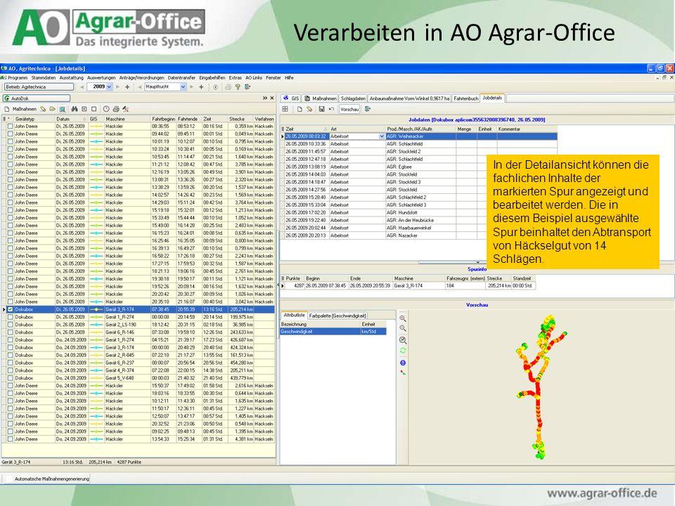 Verarbeiten in AO Agrar-Office