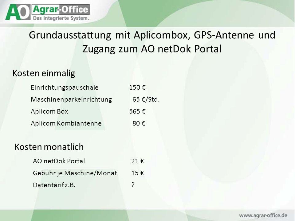Grundausstattung mit Aplicombox, GPS-Antenne und Zugang zum AO netDok Portal