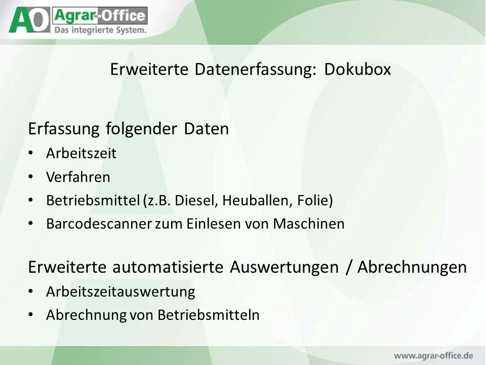 Erweiterte Datenerfassung: Dokubox