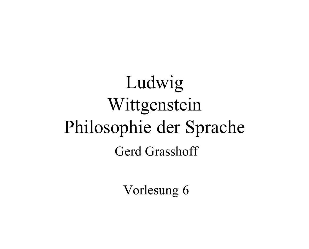 Ludwig Wittgenstein Philosophie der Sprache