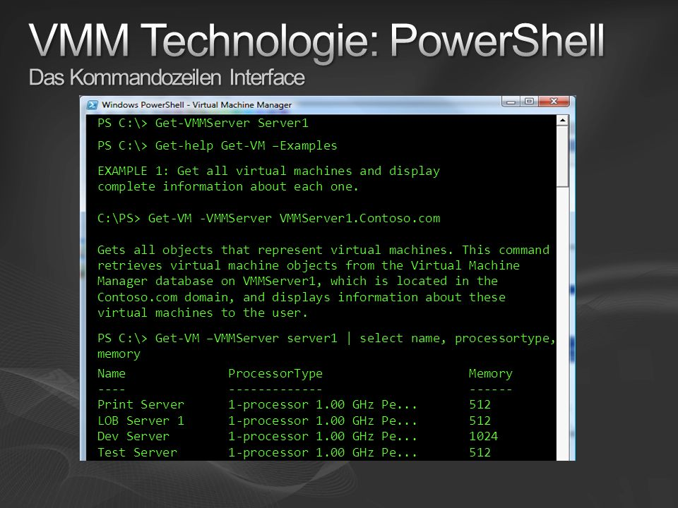 VMM Technologie: PowerShell Das Kommandozeilen Interface