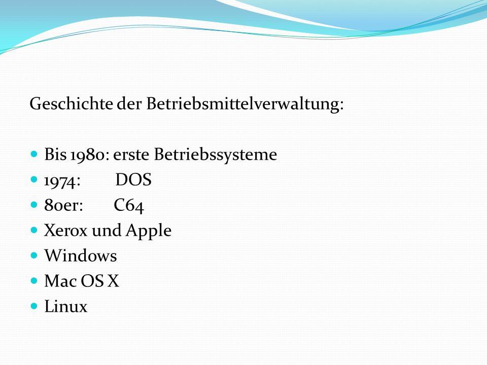 Geschichte der Betriebsmittelverwaltung: