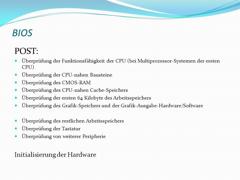 BIOS POST: Initialisierung der Hardware