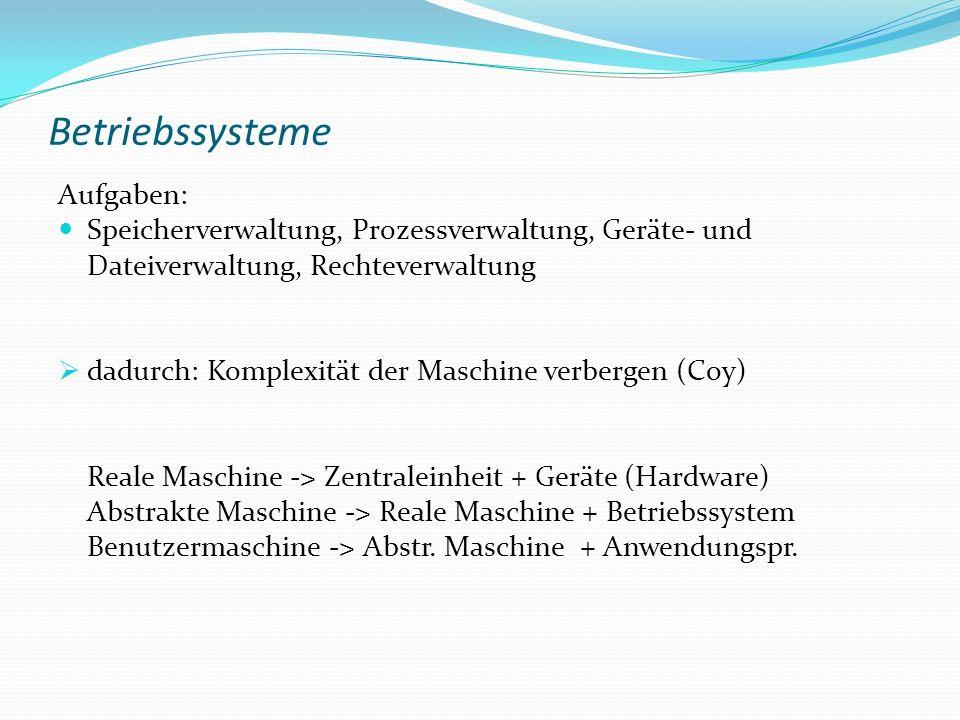 Betriebssysteme Aufgaben:
