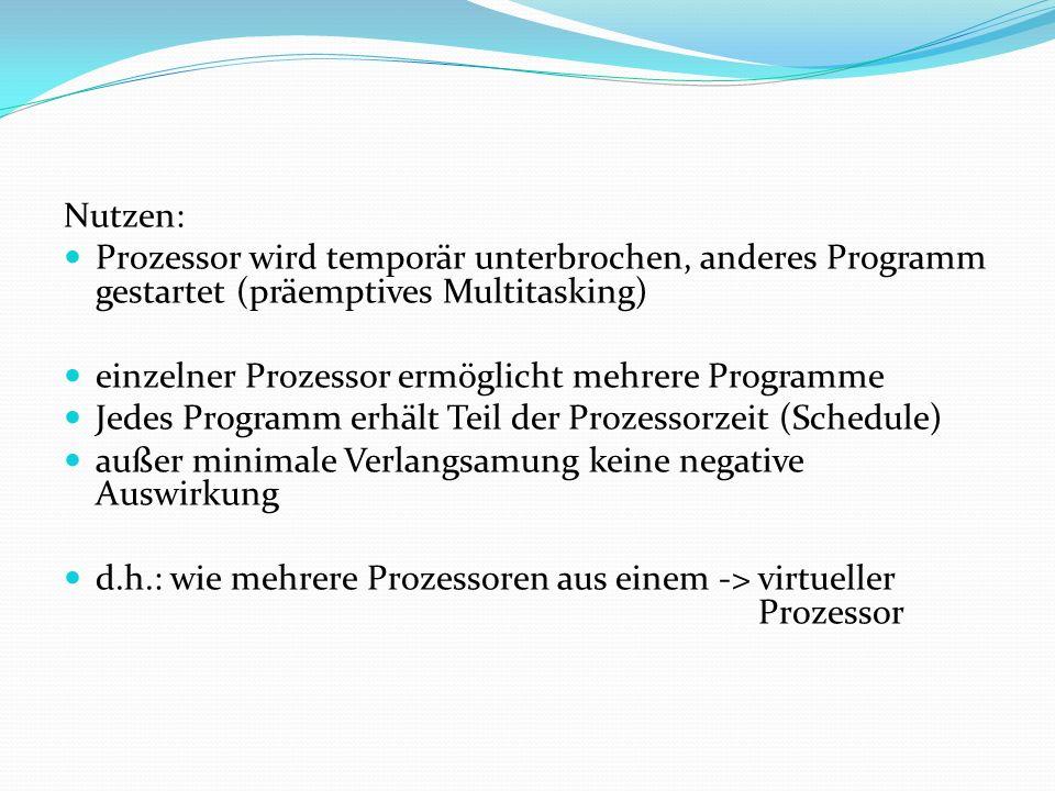 Nutzen: Prozessor wird temporär unterbrochen, anderes Programm gestartet (präemptives Multitasking)