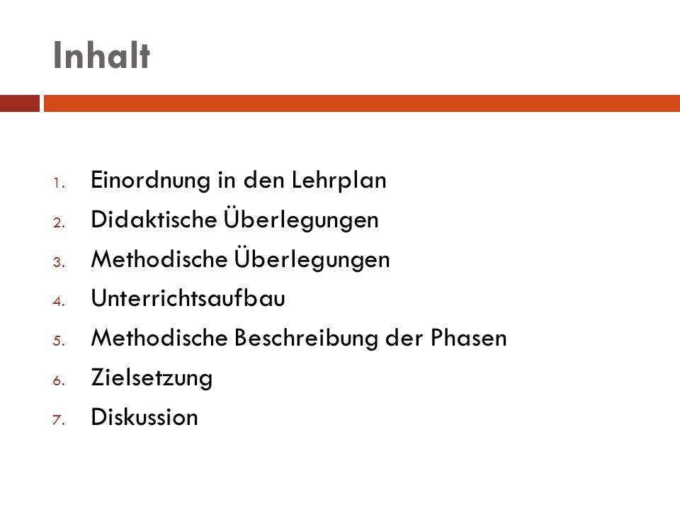 Inhalt Einordnung in den Lehrplan Didaktische Überlegungen