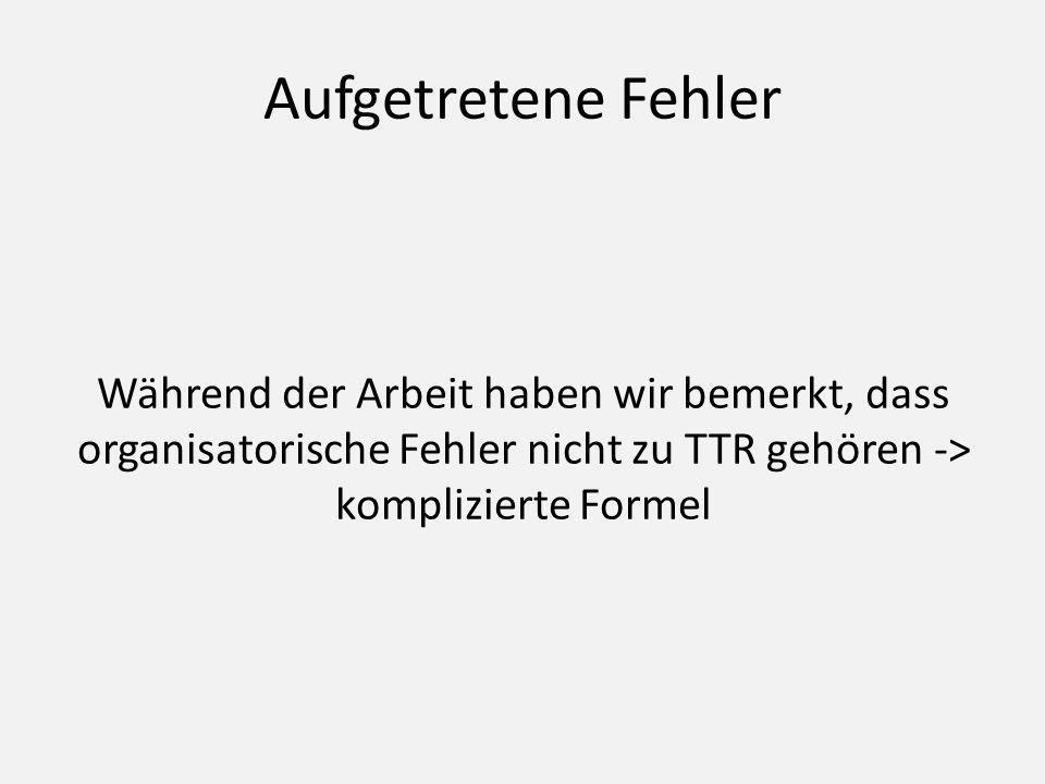 Aufgetretene Fehler Während der Arbeit haben wir bemerkt, dass organisatorische Fehler nicht zu TTR gehören -> komplizierte Formel.