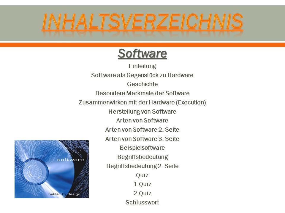 Inhaltsverzeichnis Software Einleitung