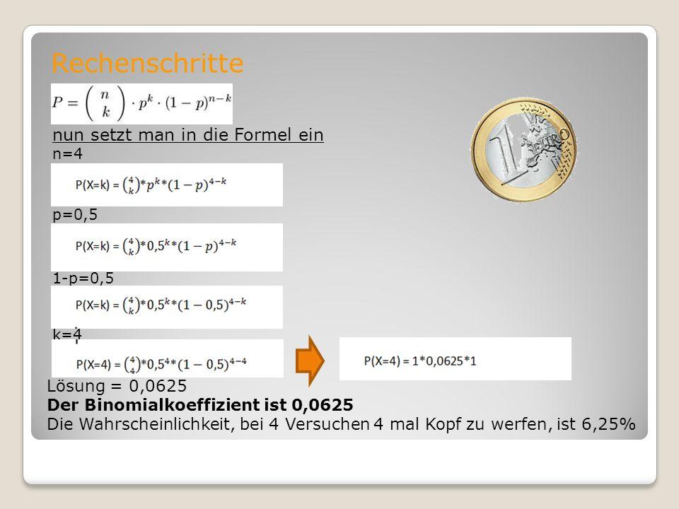 Rechenschritte nun setzt man in die Formel ein Lösung = 0,0625