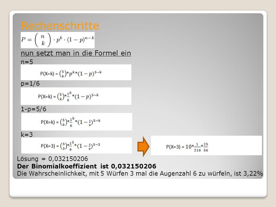 Rechenschritte nun setzt man in die Formel ein n=5 p=1/6 1-p=5/6 k=3