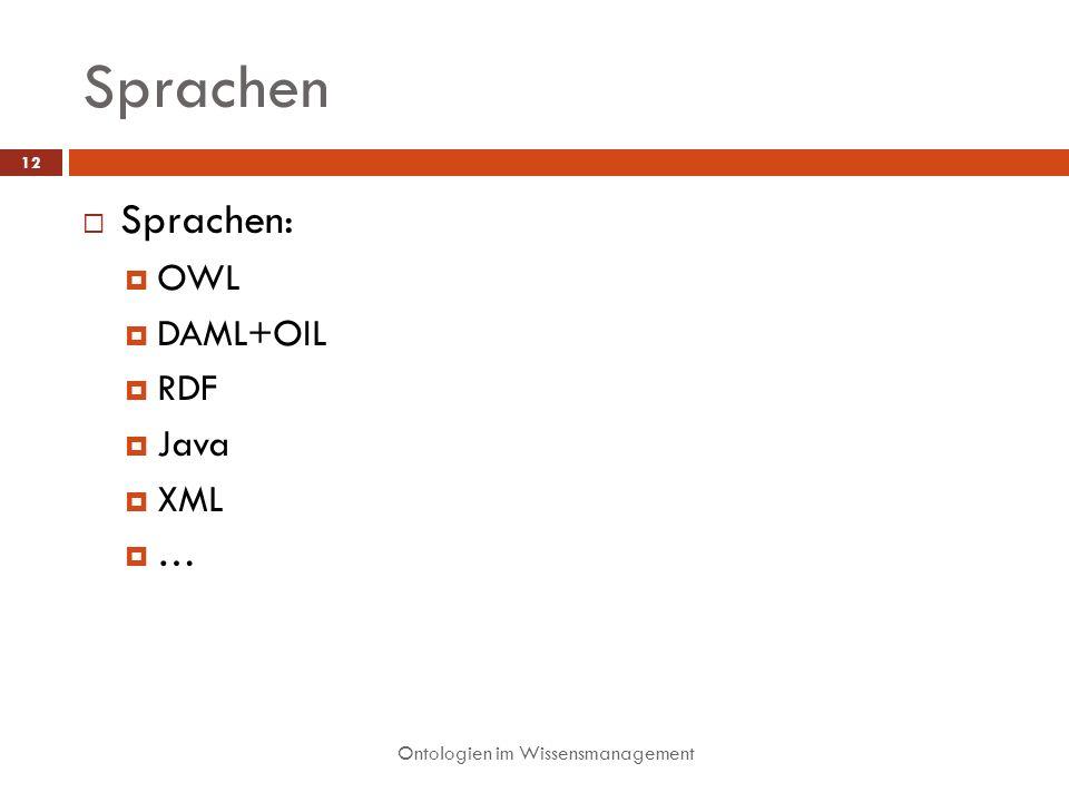 Sprachen Sprachen: OWL DAML+OIL RDF Java XML …