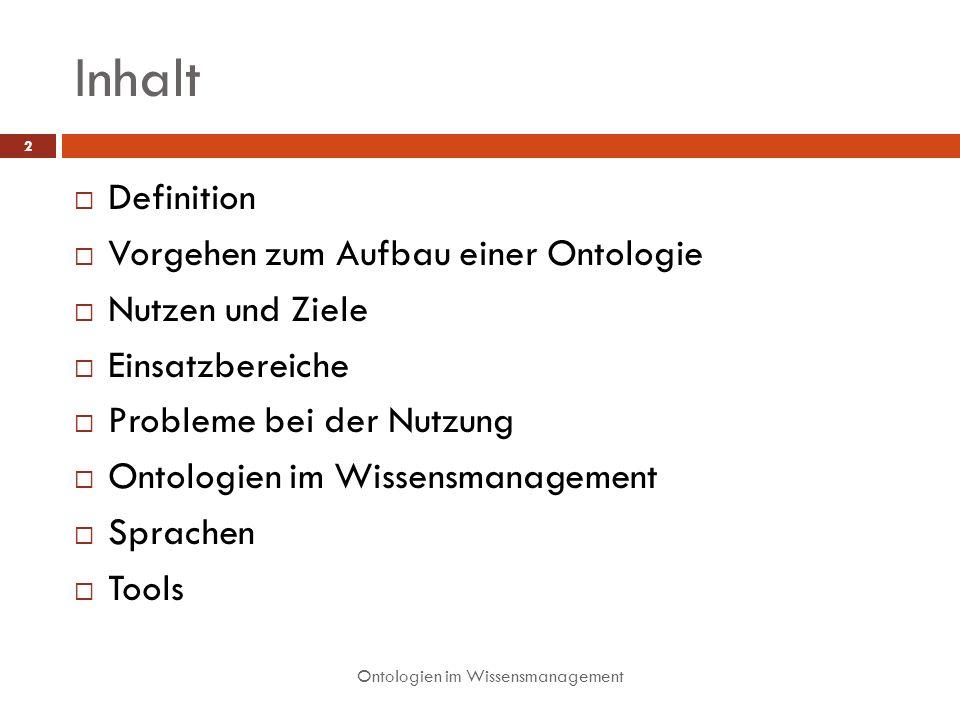 Inhalt Definition Vorgehen zum Aufbau einer Ontologie Nutzen und Ziele