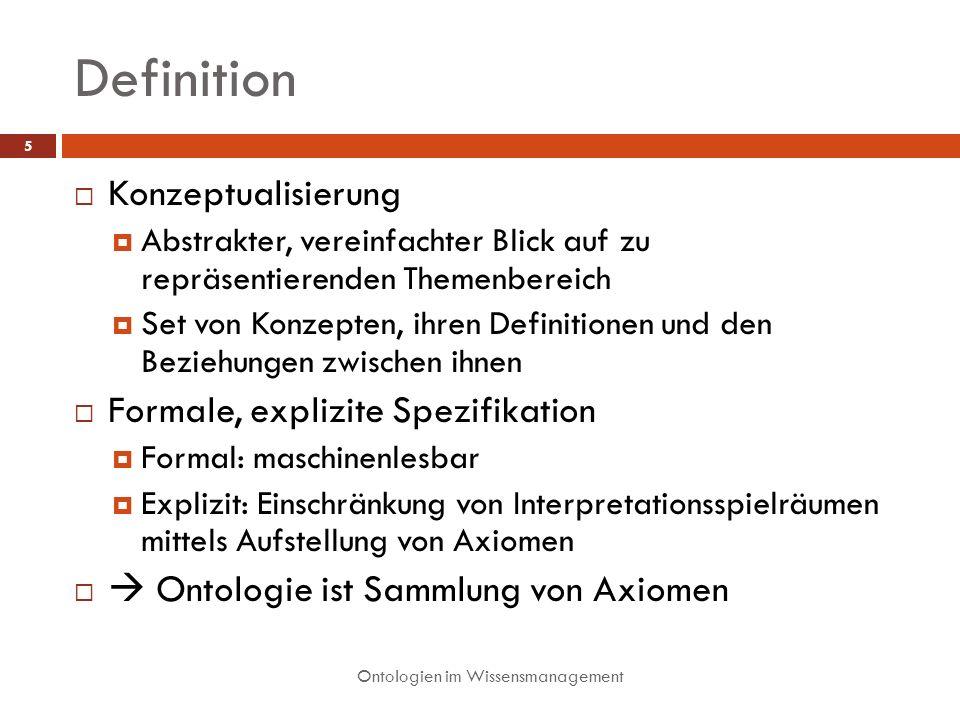Definition Konzeptualisierung Formale, explizite Spezifikation