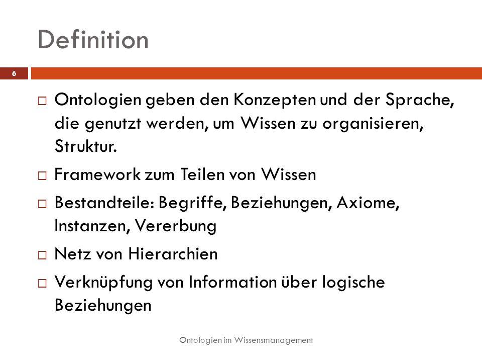 Definition Ontologien geben den Konzepten und der Sprache, die genutzt werden, um Wissen zu organisieren, Struktur.