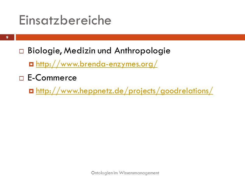 Einsatzbereiche Biologie, Medizin und Anthropologie E-Commerce