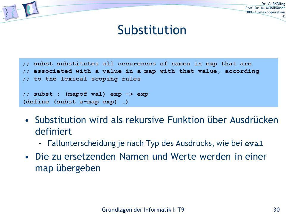 Substitution Substitution wird als rekursive Funktion über Ausdrücken definiert. Fallunterscheidung je nach Typ des Ausdrucks, wie bei eval.