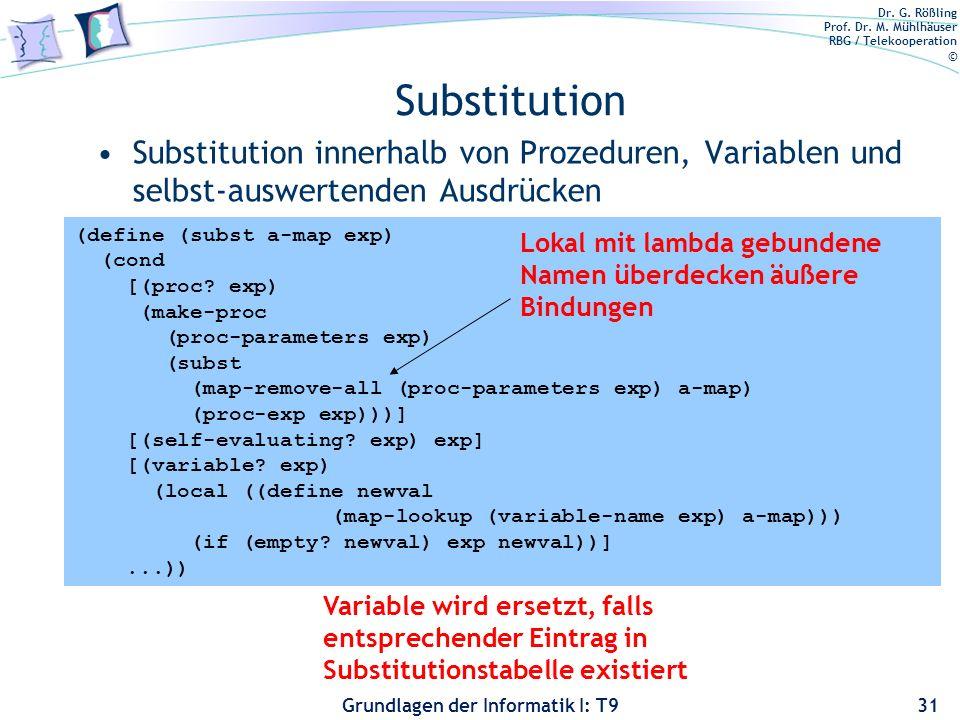 Substitution Substitution innerhalb von Prozeduren, Variablen und selbst-auswertenden Ausdrücken. (define (subst a-map exp)