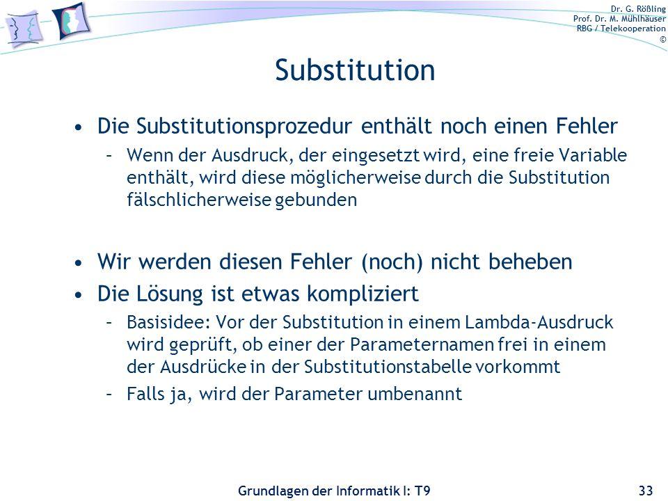 Substitution Die Substitutionsprozedur enthält noch einen Fehler