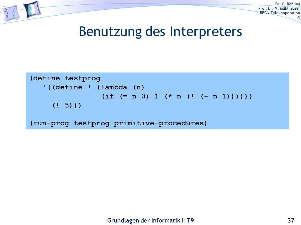 Benutzung des Interpreters