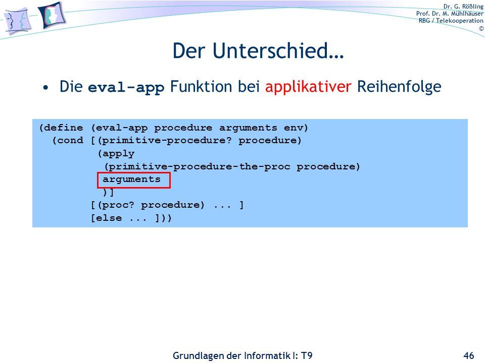 Der Unterschied… Die eval-app Funktion bei applikativer Reihenfolge