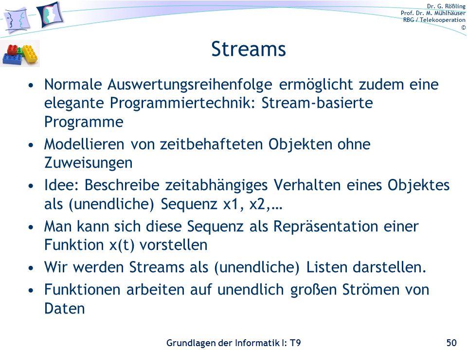 Streams Normale Auswertungsreihenfolge ermöglicht zudem eine elegante Programmiertechnik: Stream-basierte Programme.