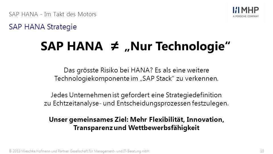 "SAP HANA ≠ ""Nur Technologie"