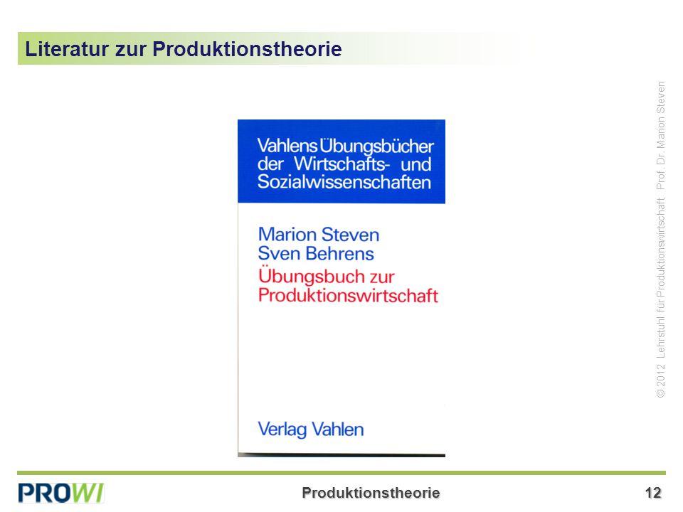 Literatur zur Produktionstheorie
