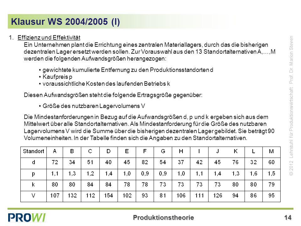 Klausur WS 2004/2005 (I) 1. Effizienz und Effektivität