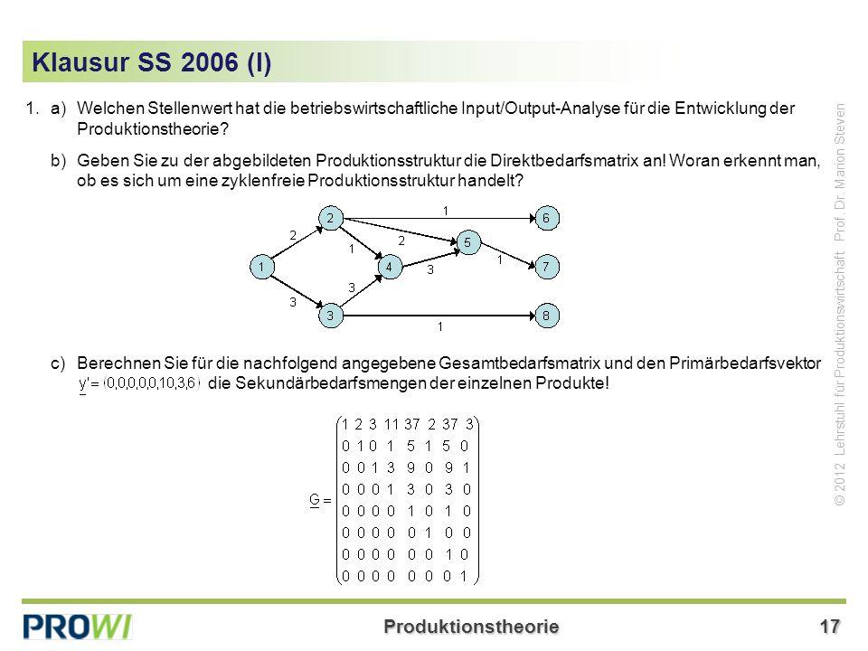 Klausur SS 2006 (I) 1. a) Welchen Stellenwert hat die betriebswirtschaftliche Input/Output-Analyse für die Entwicklung der Produktionstheorie