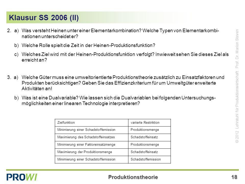 Klausur SS 2006 (II) 2. a) Was versteht Heinen unter einer Elementarkombination Welche Typen von Elementarkombi- nationen unterscheidet er