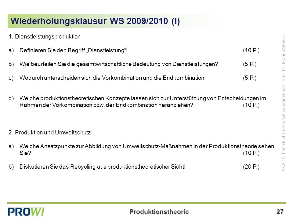 Wiederholungsklausur WS 2009/2010 (I)