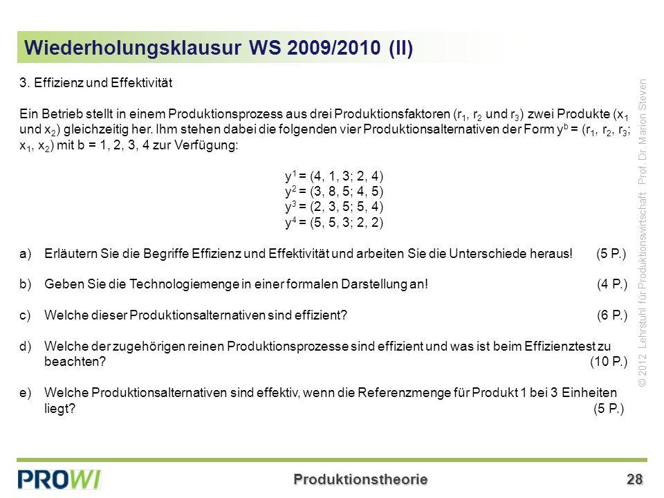 Wiederholungsklausur WS 2009/2010 (II)
