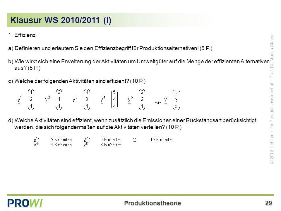 Klausur WS 2010/2011 (I) 1. Effizienz