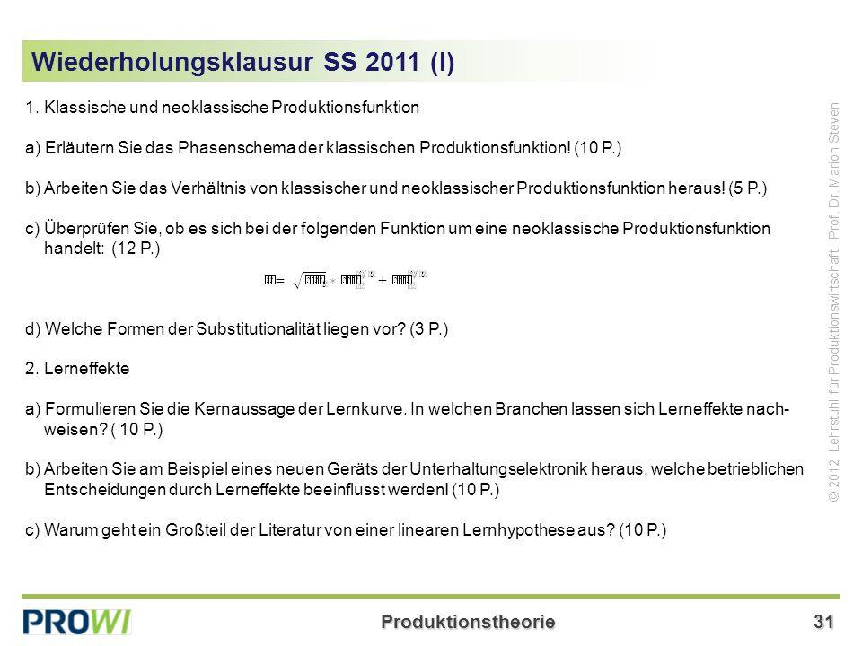 Wiederholungsklausur SS 2011 (I)