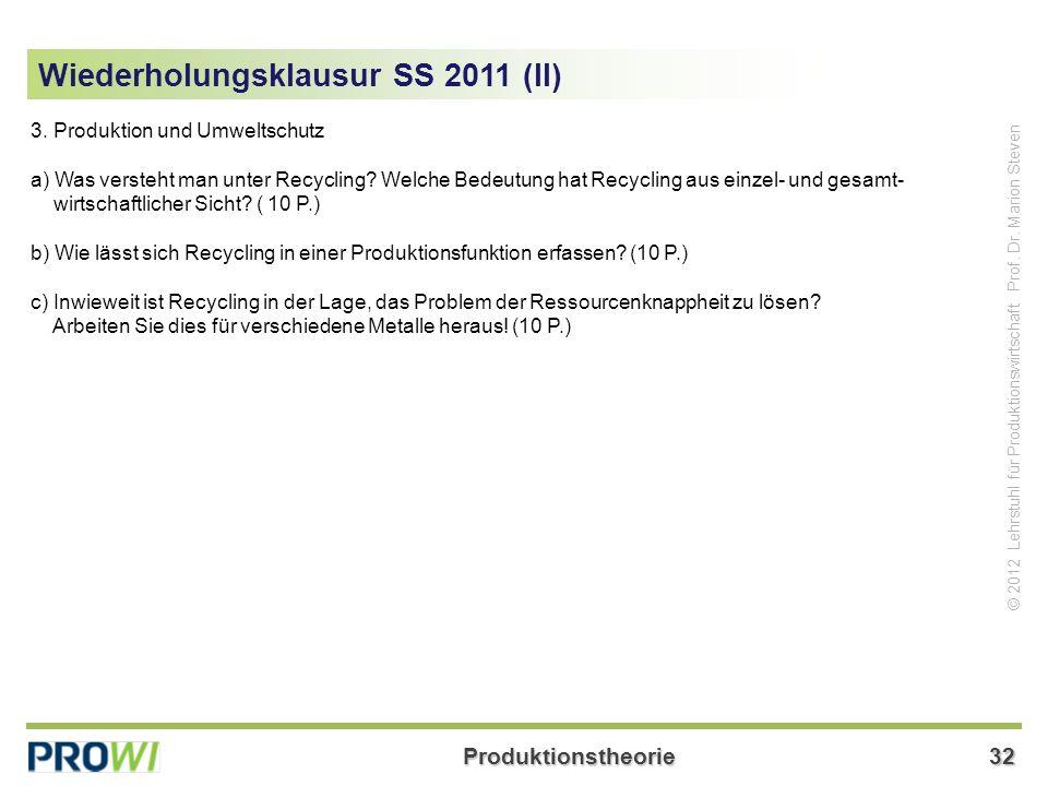 Wiederholungsklausur SS 2011 (II)